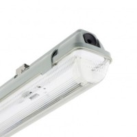 Pantalla Estanca para 2 Tubo de LED 1200mm PC/PC Conexión un Lateral PE21200