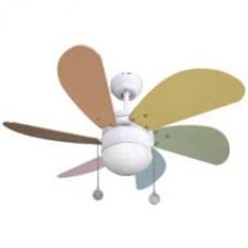 Ventilador Blanco  6 Aspas Colores Pastel 1xe27 77 D