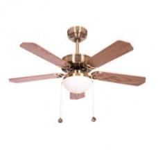 Ventilador Cuero  5 Aspas Cerezo/nogal 2xe27 107d