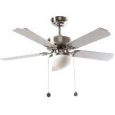 Ventilador Niquel  5 Aspas Plata/haya 2xe27 107d